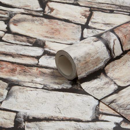 Brown Cornish Stone Wallpaper Roll