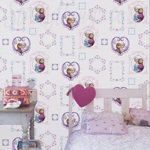 Disney Frozen Frames Wallpaper in a Girls Bedroom