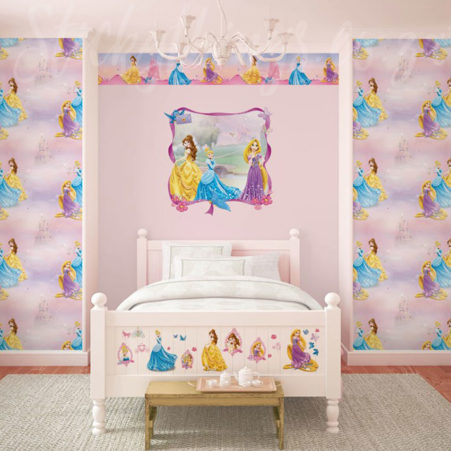 Girls room with the Disney Princesses Wallpaper