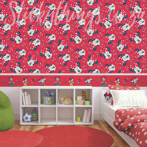 Disney Minnie Mouse Red Wallpaper in a Kids Room