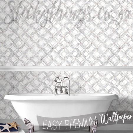 Bathroom with Rose Gold Metallic inlay Marble Tiled Wallpaper