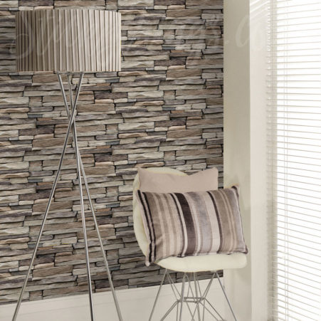 The Stone Mason Wallpaper in a lounge