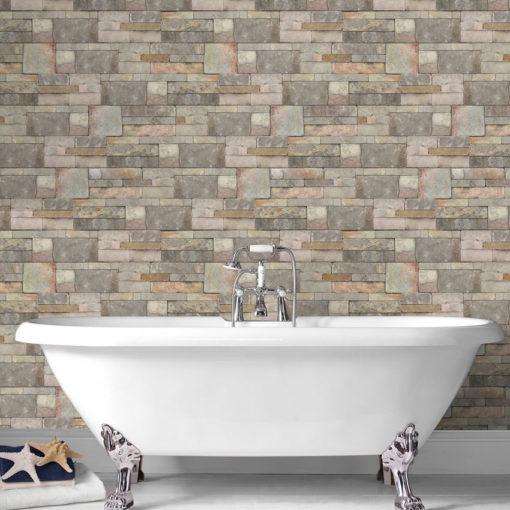 Warm Sandstone Wallpaper in a Bathroom