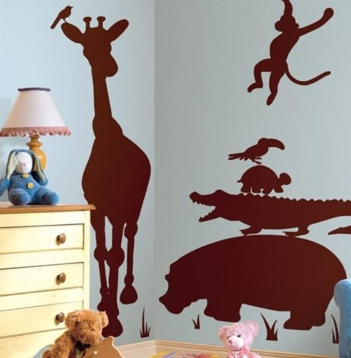 Giant Safari Silhouette Decals in a Nursery