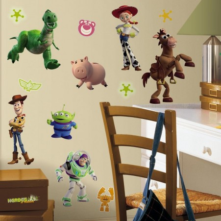 Glow in the Dark Disney Toy Story Wall Stickers in a Kids Room