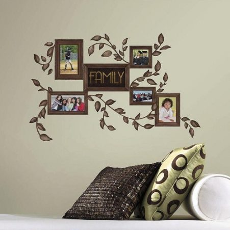 Family Frames Wall Stickers on a beige wall