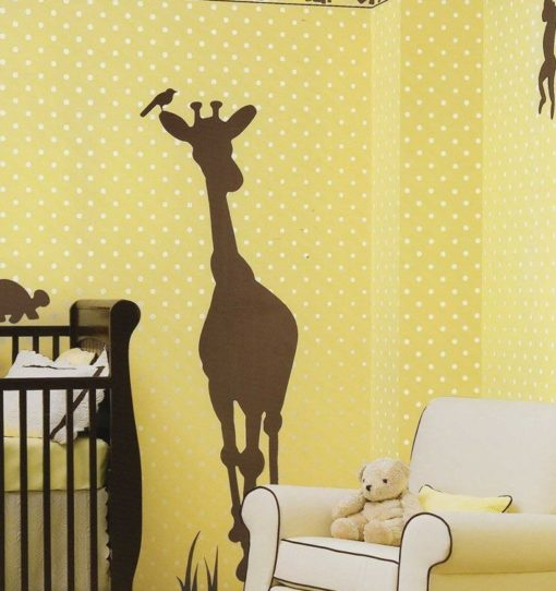 Wallpaper with decals in a Giraffe Nursery Theme