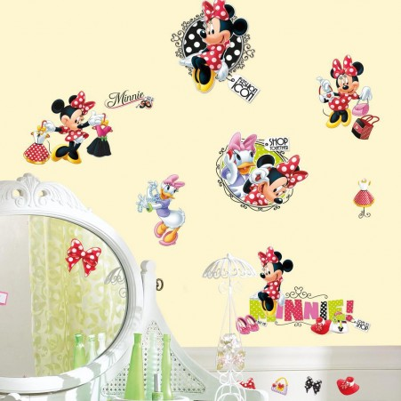 Disney Red Minnie Mouse Decals in a Girls Room