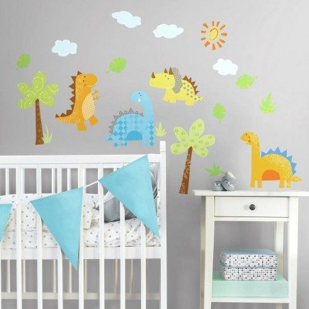 Babysaurus Nursery Dinosaur Wall Stickers on a Grey Wall