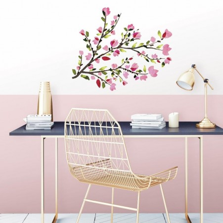 Pink Watercolour Branch Decal in an office