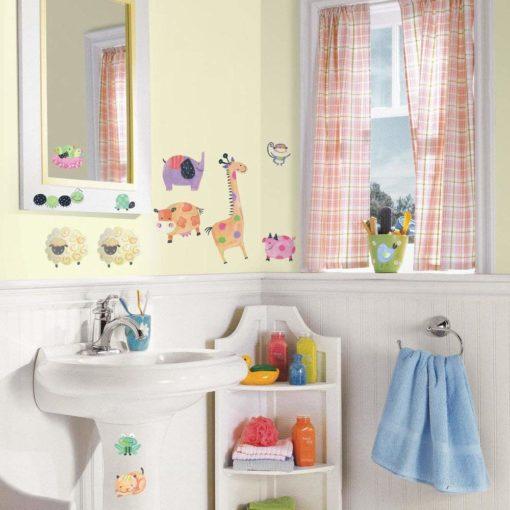 Peel & Stick Polka Dot Piggy Wall Stickers in a Bathroom