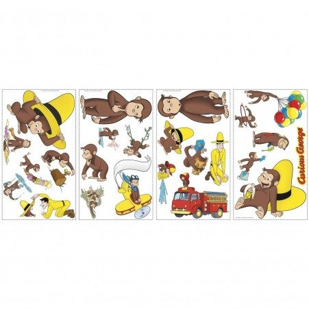 Roommates Curious George Decals Sheets