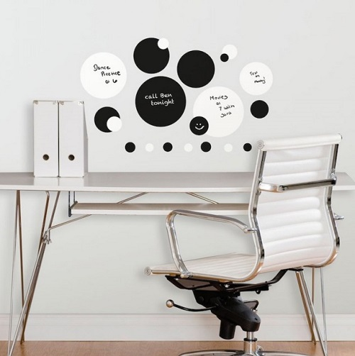 Dry Erase and Chalkboard Black and White Dots Wall Stickers above a Desk