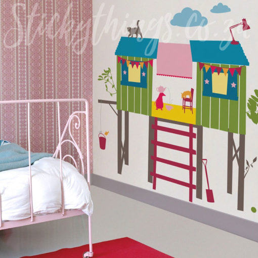 Peel and Stick Girls Tree House Wall Stickers in a Bedroom