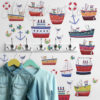 Boat and Nautical Wall Decals in a Boys Room
