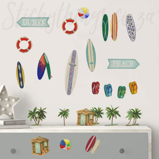 Beach and Surfing Wall Stickers in a Room