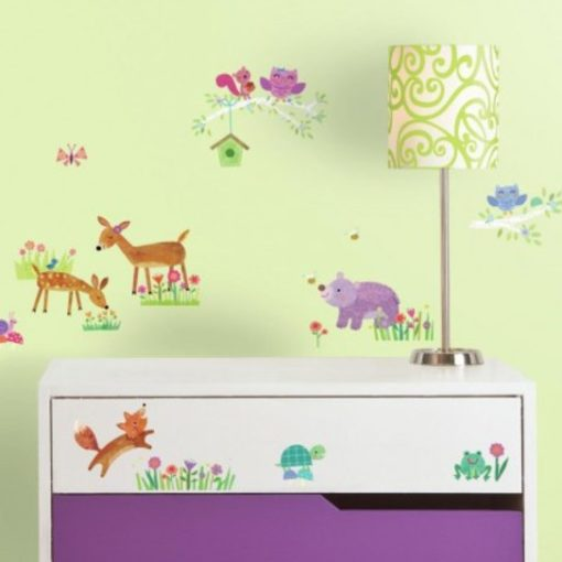 Woodland Baby Wall Stickers in a Baby Room