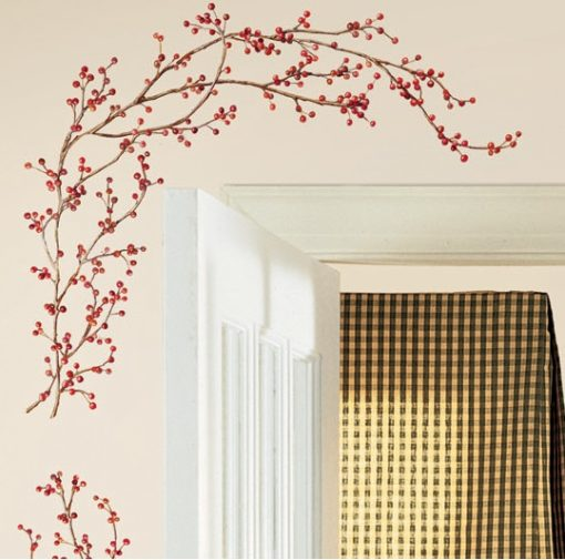 Close up of the Peel & Stick Berry Vine Wall Decal