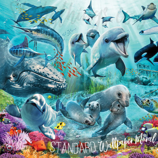 Close up of the Underwater Fish Whale Dolphin Mural