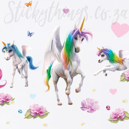 Close up of the Magical Unicorn Room Theme Wall Stickers