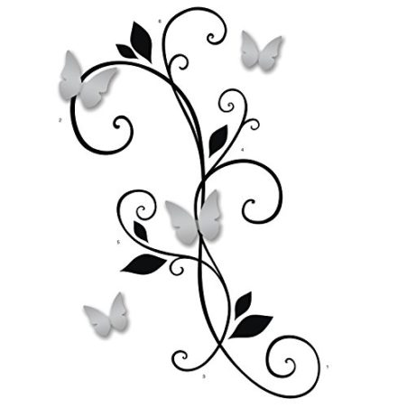 Suggested assembly of the 3D Butterfly Peel and Stick Wall Decals with Mirrors