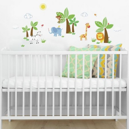 Jungle Friends Wall Decals on a wall in a baby nursery
