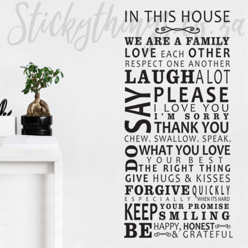 In this House Vinyl Decal in a lounge