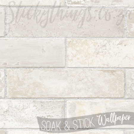 Close up of the texture in the Scrubbable Pale Grey Brick Wallpaper