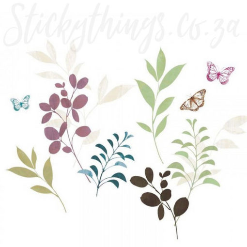 All the botanicals in the Butterfly Stems Leaves Wall Stickers