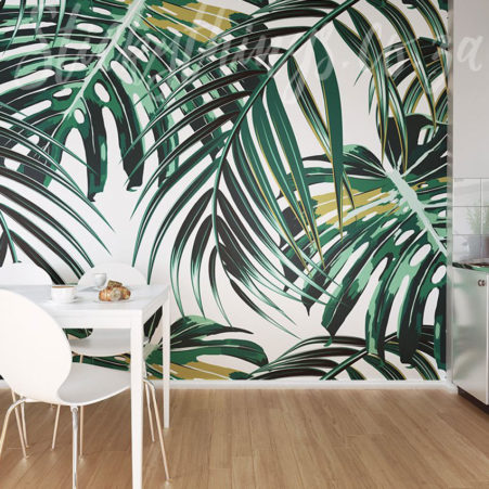 Tropical Leaves Wall Mural as a feature wall in a dining room