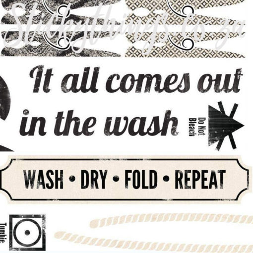 Close up of the detail of the It all comes out in the Wash Laundry Decal