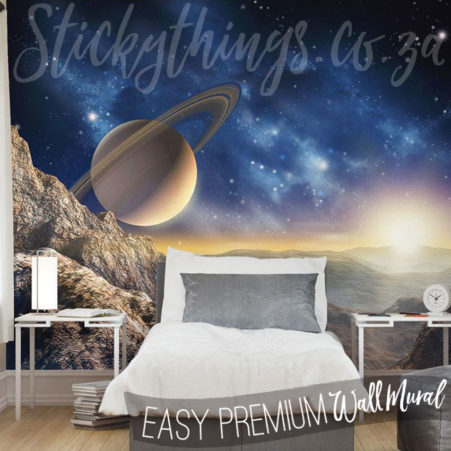 Space Saturn Wall Mural in a Bedroom