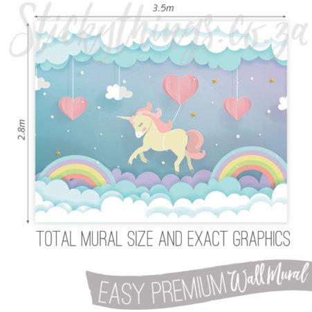 Measurements (3.5m x 2.8m) of the Rainbow Unicorn Dream Wall Mural.