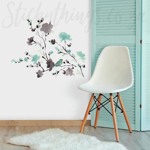 Watercolour Branch Wall Sticker in a lounge