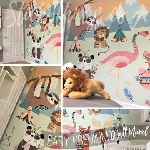 Real kids room with the Boho Animals Wall Mural