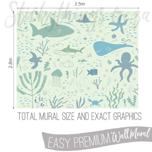 Measurements (3.5m x 2.8m) of the Fish Adventures Underwater Wall Mural
