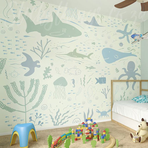 Aquarium Wall Mural in a Childs Room