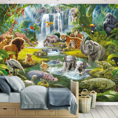 Jungle Adventure Wall Mural installed in a childrens bedroom