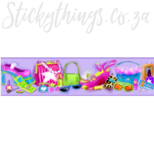 Showing the purses, make-up and shoes in the Little Fashionista Border