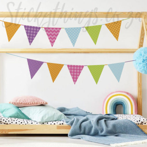 Bright Bunting Wall Stickers in a Bedroom