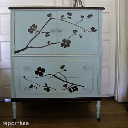 The Cherry Blossom Wall Sticker being used as a Cherry Tree Stencil Sticker