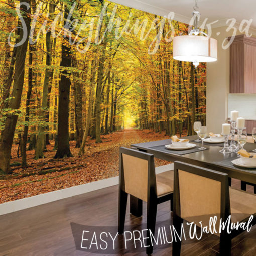 XL Autumn Leaves Wall Mural in a dining room