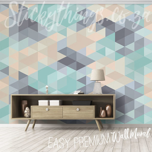 Pastel Triangles Wall Mural installed in a showroom