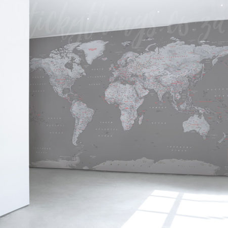 Large Grey World Map Mural in an office corridor
