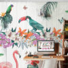 Tropical Vibes Wall Mural installed in a bedroom