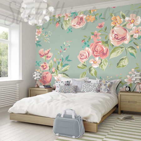 Pastel Flowers Wall Mural in a bedroom