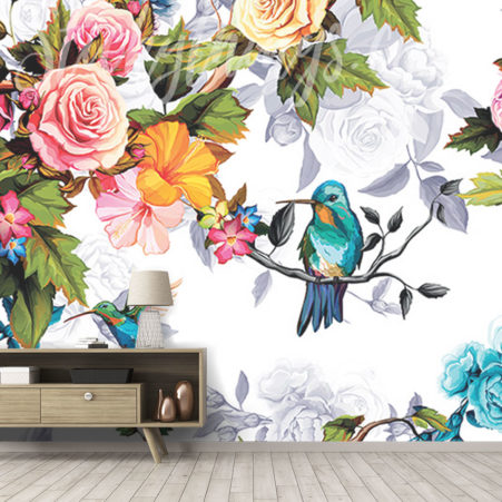 Impressionist Birds Wall Mural in a showroom
