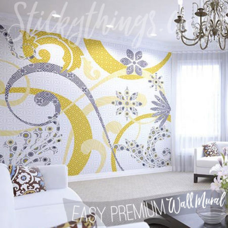 Abstract Swirls Wall Mural in a lounge