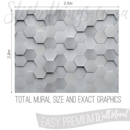 Exact measurements (3.5m x 2.8m) of the Metal Hexagon Wallpaper Mural