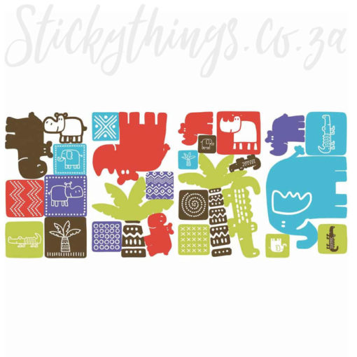4 Sheets of the Roommates Peel and Stick Safari Blocks Wall Decals